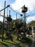 Macaco que balança no jardim zoológico Fotos de Stock