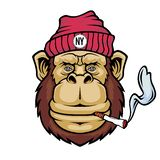 Macaco que fuma um cigarro Logotipo da mascote ilustração royalty free