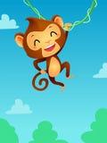 Macaco que pendura em uma videira ilustração royalty free