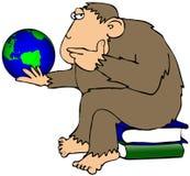 Macaco que Pondering um globo ilustração royalty free