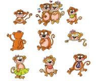 Macacos da mascote, família Imagens de Stock