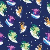 Macacos surfando bonitos coloridos do vetor sem emenda ilustração stock