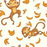 macacos Vector o teste padrão sem emenda Fotos de Stock Royalty Free