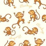 macacos Vector o teste padrão sem emenda Imagens de Stock
