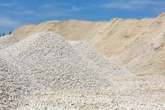 Macadam. Of fine gravel hills against the sky Stock Photography