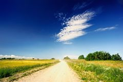 Macadam Road. Straight macadam road through the village fields Stock Images