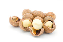 Macadamia. Nuts on white background Royalty Free Stock Photography