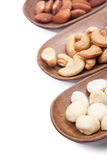Macadamia, almond and cashew nuts isolated Stock Photo