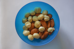 Macadamia and almonds mixed roasted nuts top closeup view. Royalty Free Stock Photos