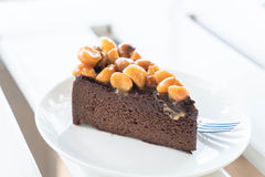 Macadamia chocolate cake Royalty Free Stock Images