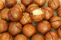 Macadamia dokrętki rozpraszać na stole zdjęcie royalty free