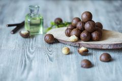 Macadamia kernels, walnut oil, on wooden background. Relax, health care, body care stock photo