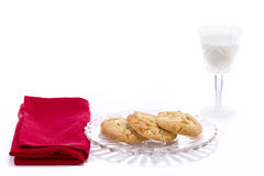 Macadamia Nut Cookies and Milk Royalty Free Stock Photography
