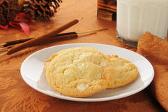 Macadamia nut cookies with white chocolate Royalty Free Stock Image