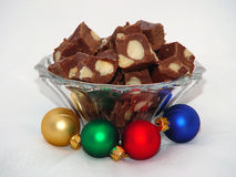 Macadamia Nut Fudge & Ornaments Royalty Free Stock Photo