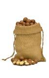 Macadamia nut in sack Royalty Free Stock Photos
