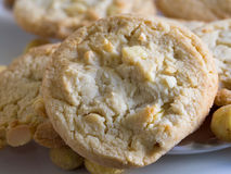 Macadamia nut and white chocolate cookies. A small stack of macadamia nut and white chocolate cookies Stock Photography