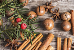 Macadamia nuts and cinnamon on wooden background Stock Image