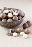 Macadamia nuts in coconut bowl Royalty Free Stock Images