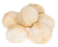 Macadamia nuts (isolated on white) Royalty Free Stock Photography