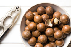 Macadamia nuts with nutcracker Stock Photography