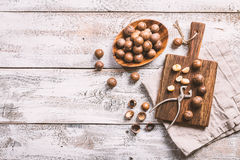 Macadamia nuts on table Royalty Free Stock Images