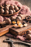 Macadamia nuts on table Stock Images