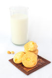 Macadamia and white chocolate cookies and a glass of milk Stock Image