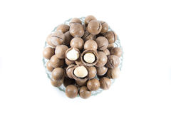 Macademia nut isolated on white background. Photo taken on 18/4/13 Royalty Free Stock Photos