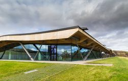Macallan Distillery. CRAIGELLACHIE, SCOTLAND - 4 NOVEMBER 2018: Macallan Distillery and visitor centre, in the recently opened modern facility designed by stock photography