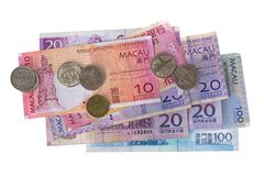 Macao-Banknoten prägt Geld, Macanese-Pataca MOPP, 10 20 100 ist Stockbilder