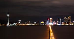 Macao bij nacht Stock Afbeelding