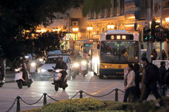 Macao bus Number 5 at night Stock Images