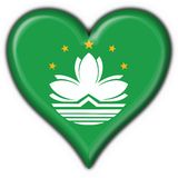 Macao button flag heart shape Stock Photography