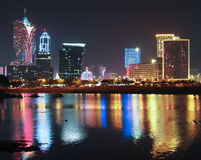 Macao Casino at Night Royalty Free Stock Images
