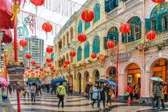 MACAO, CHINA - 24 DE ENERO DE 2016: Opinión de la calle del cuadrado de Senado Imagenes de archivo