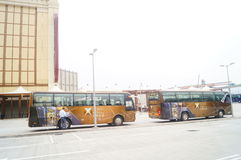 Macao, China: hotels and tourist buses Stock Photography