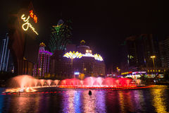 Macao, China - 2014 10 15: Macao - die spielende Hauptstadt von Asien Das Foto des berühmten Wynn-Hotels lizenzfreie stockfotografie