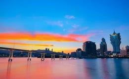 Macao cityscape with famous landmark Stock Photos