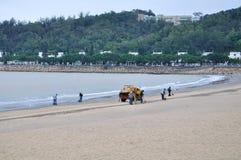 Macao czerni piaska plaża Zdjęcia Royalty Free