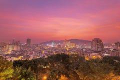 Macao de stad in bij Schemering Royalty-vrije Stock Foto