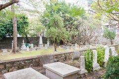 MACAO - December 13 2015: Protestantkyrkogård (världsarvet) A Royaltyfria Bilder