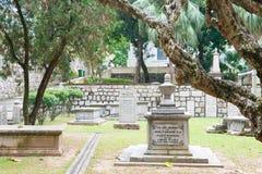 MACAO - December 13 2015: Protestantkyrkogård (världsarvet) A Arkivbild