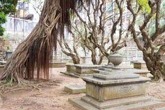 MACAO - December 13 2015: Protestantkyrkogård (världsarvet) A Arkivfoton