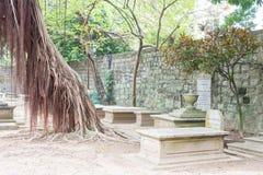 MACAO - December 13 2015: Protestantkyrkogård (världsarvet) A Royaltyfri Foto