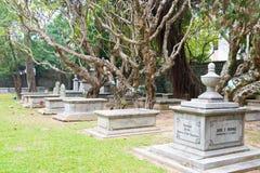 MACAO - December 13 2015: Protestantkyrkogård (världsarvet) A Royaltyfri Bild