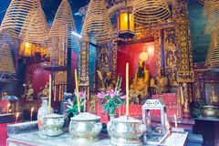 MACAO - December 13 2015: Sam Kai Vui Kun (Guandi tempel) en berömd Wo Royaltyfria Foton