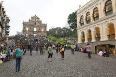 Macao: Fördärvar av St Pauls Royaltyfri Fotografi