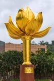 Macao guld- lotusblommafyrkant Arkivfoto