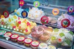 Macao - 17 janvier 2018 : Variété faite maison de crème glacée de saveurs photos stock